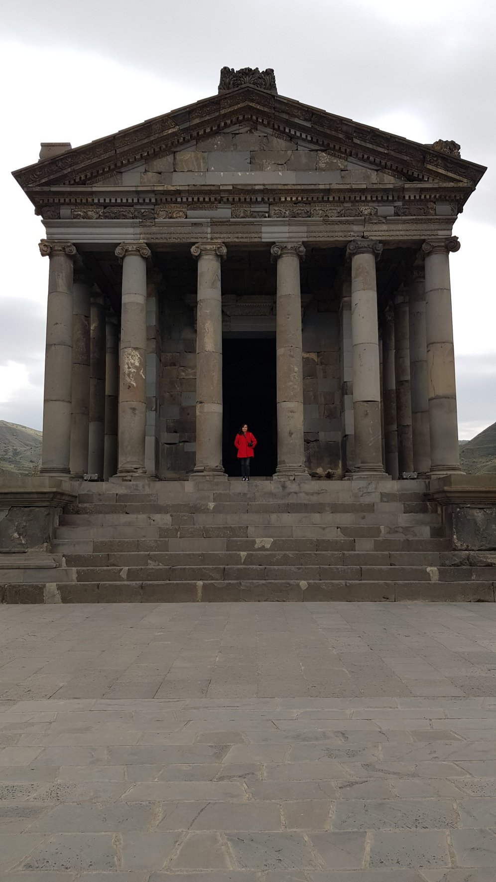 While standing at the pillars of Garni Temple. See? You can have this place all by yourself