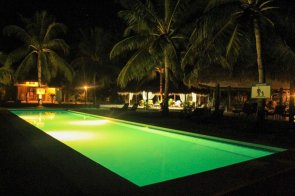 The swimming pool at night. This is just beside our villa